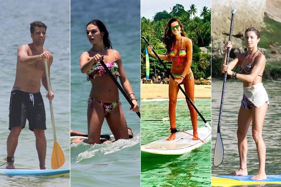 É só fazer sol e terem uma brecha na agenda que Bruno Gagliasso, Isis Valverde, Izabel Goulart e Grazi Massafera correm para a praia para praticar stand up paddle