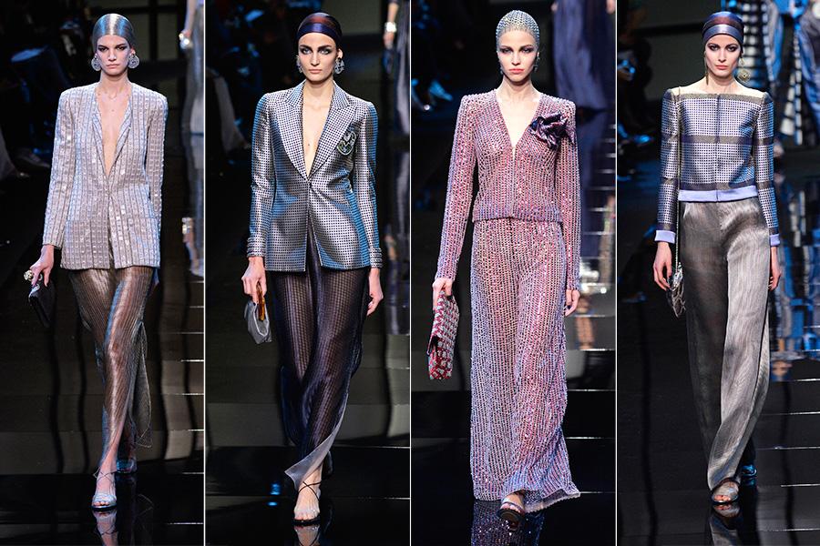 Para encerrar o dia, a Armani Privé abriu o desfile de alta-costura com uma série de terninhos deluxe, todos metalizados
