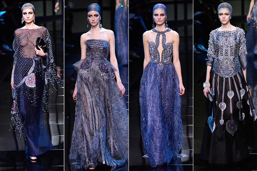 Armani também mostrou longos luxuosos, em azul marinho e preto, em tecidos metalizados e com bordados