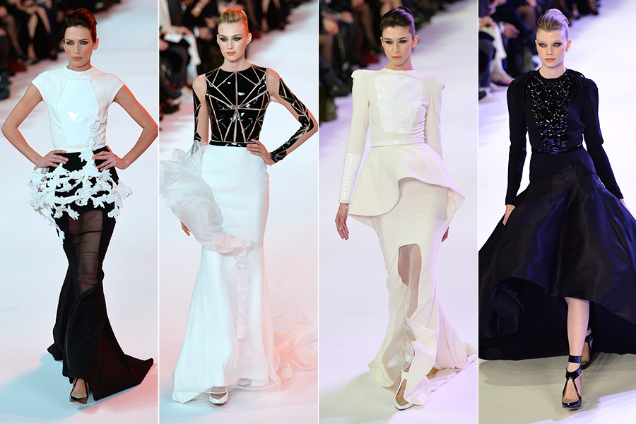O estilista, no entanto, não abriu mão dos modelitos em preto e branco, que sempre aparecem em seus desfiles