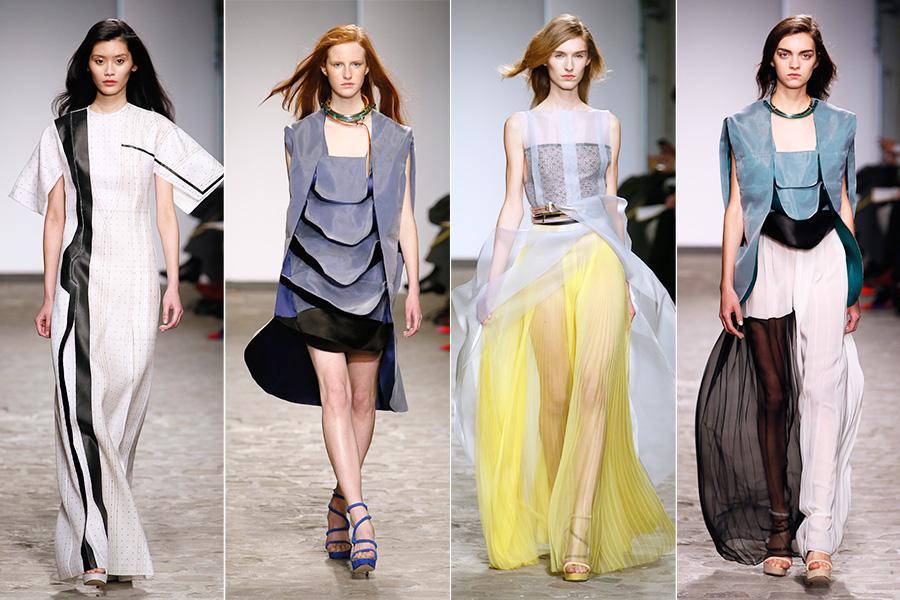 Logo depois, veio o desfile de Vionnet, que abandonou a versão mais tradicional dos vestidos no estilo grego - tradição da grife - em favor de uma estética mais moderna e conceitual