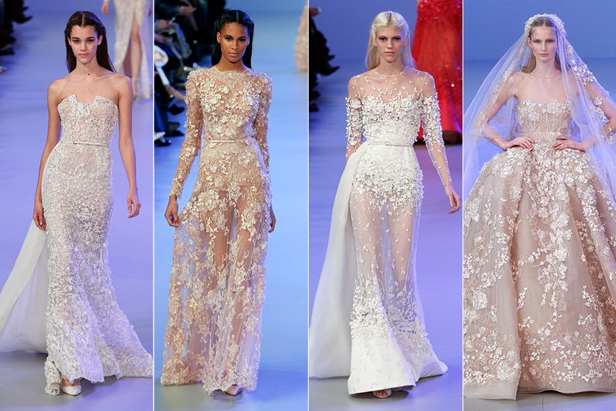 Na série final de looks brancos, o foco foram as transparências, bordados e aplicações em flores, que cobriram até a noiva (à direita) mostrada pelo estilista