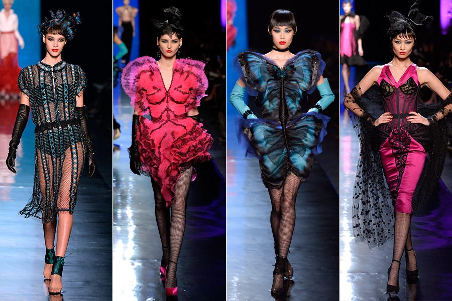 Jean Paul Gaultier trouxe um clima divertido e mostrou modelitos com inspiração no colorido das borboletas
