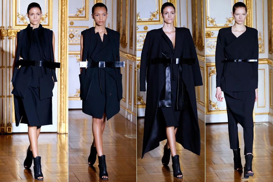 O estilista mostrou muitas sobreposições, marcados por grossos cintos pretos