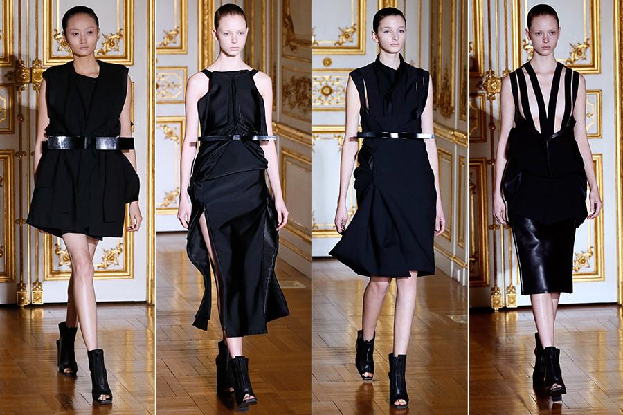 Rad Hourani  apresentou uma coleção sóbria, toda com looks pretos e com uma alfaiataria precisa