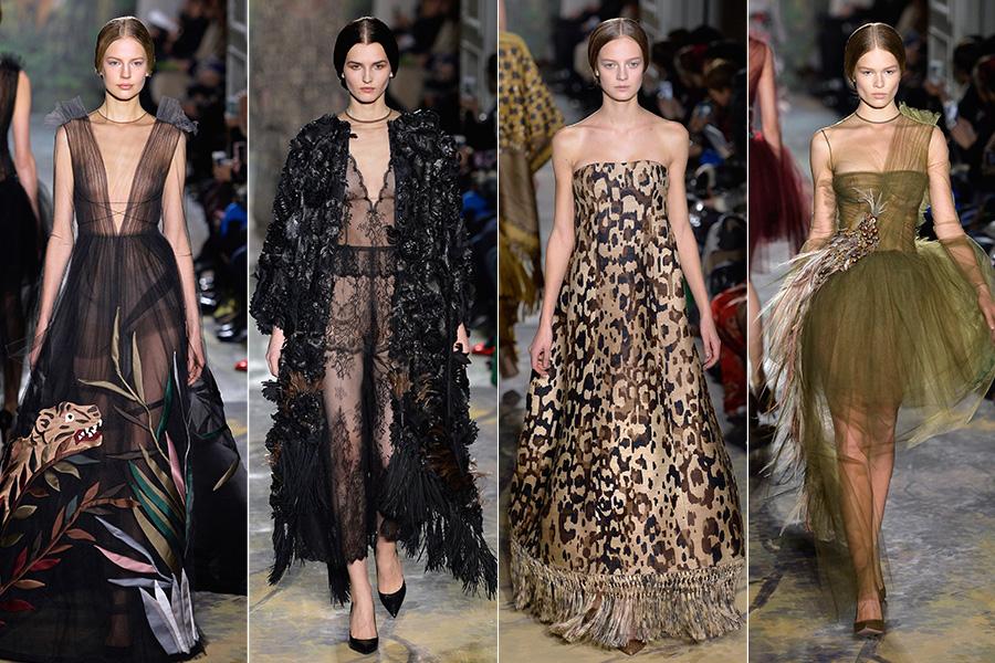 Na passarela de Valentino, a grife buscou inspiração na temática africana, com estampas de oncinha e de bichos e apliques de penas