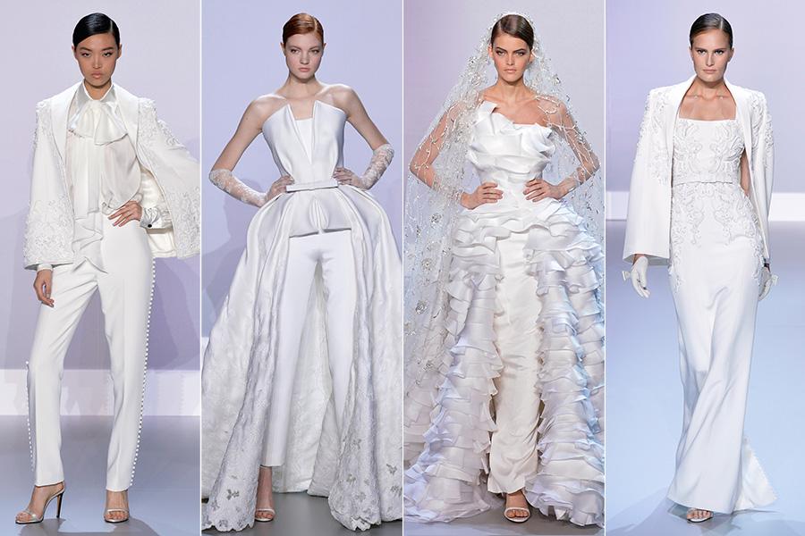 A dupla Ralph&Russo criou uma coleção de alta-costura para todos os gostos: na abertura, uma sequência de modelitos completamente brancos