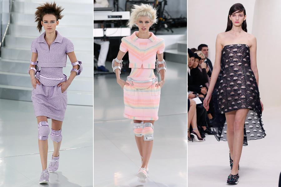 Entre as tendências de alta-costura, a pegada esportiva foi a que mais surpreendeu. Prova disso é que tanto a Chanel (à esquerda e no centro) quanto a Dior (à direita) colocaram tênis nos pés das modelos