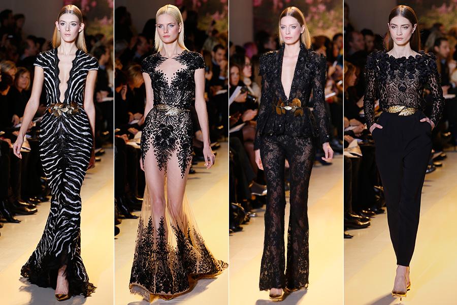 O estilista também criou modelitos em preto, com muita transparência e acessórios dourados