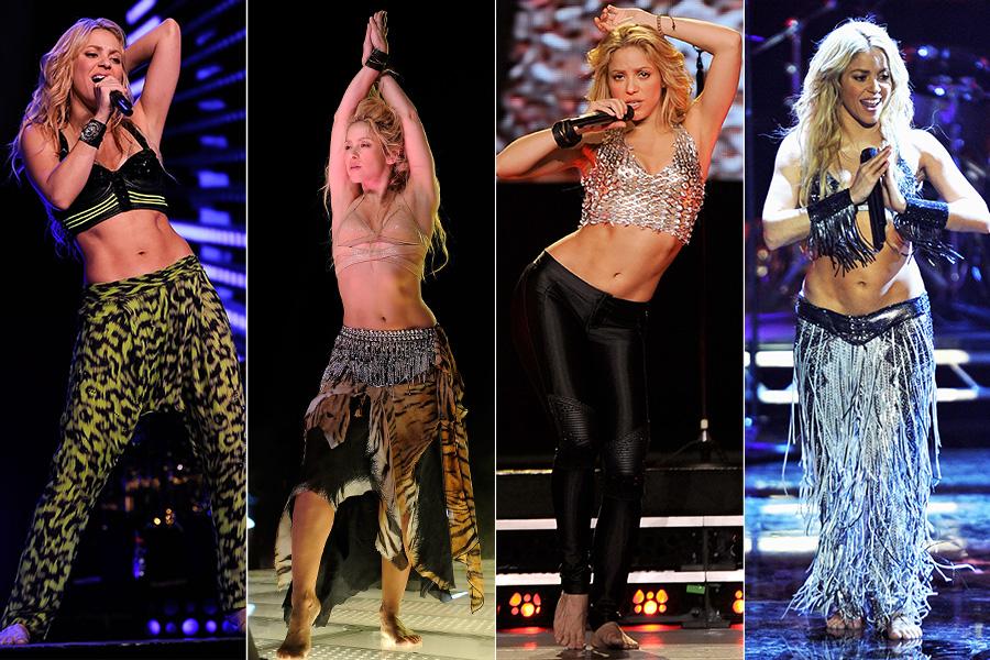 Não adianta: em cima dos palcos, todo e qualquer figurino usado por Shakira tem uma coisa em comum: a barriguinha de fora, que a cantora faz questão de exibir com números de dança do ventre durante os shows