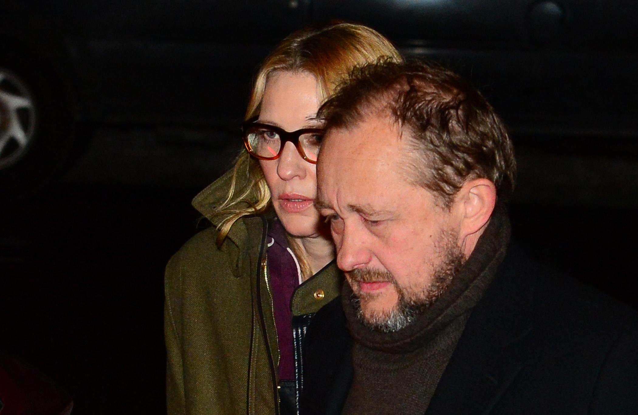 Cate Blanchett e o marido, Andrew Upton no velório de Philip Seymour Hoffman em Nova York, nos Estados Unidos