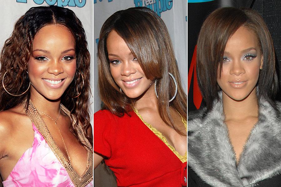 Em 2005, Rihanna começou a carreira com o cabelo no estilo natural e encaracolado. Logo depois, alisou os fios e cortou acima dos ombros