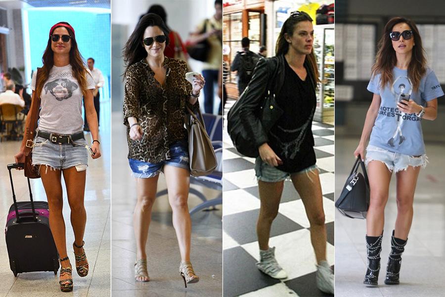 Thaila Ayala, Fernanda Vasconcellos, Letícia Birkheuer e Sabrina Sato foram clicadas com confortáveis shortinhos jeans no aeroporto