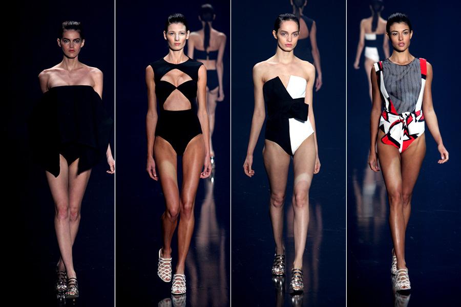 Em clima de festa al mare, vestidos de cintura mais baixa em modelagens assimétricas dão nova silhueta ao corpo híbrido do ser meio-mulher-meio-peixe.