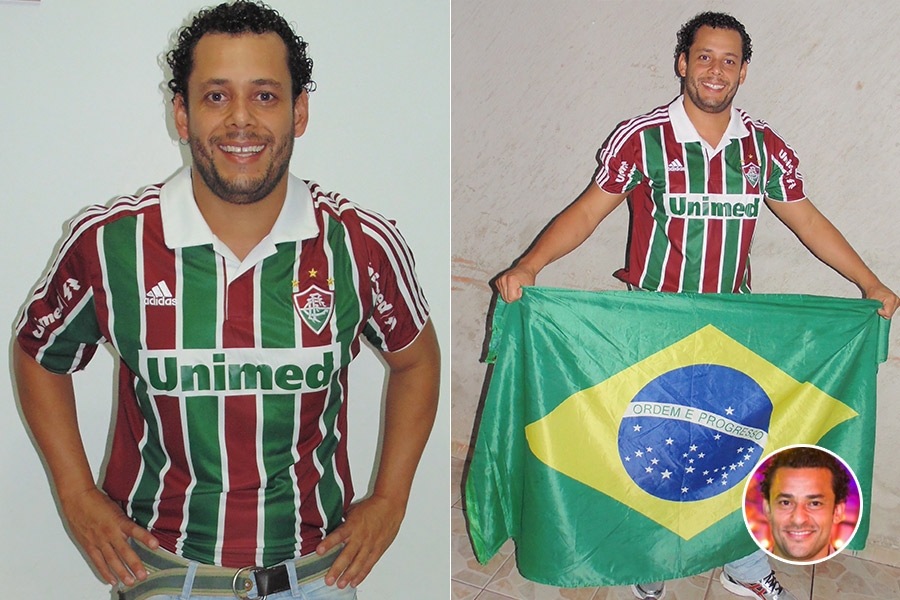 """Antonio Sirino, de Planaltina, DF, vestiu até a camisa do Fluminense para mostrar a semelhança com Fred: """"Todos me param me chamando de Fred, quero tirar a prova aqui"""", diz ele. E aí... parece mesmo?"""