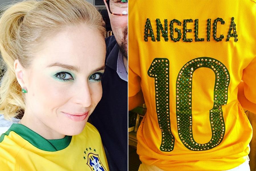 Angélica foi à Arena Corinthians com maquiagem e camisa customizada