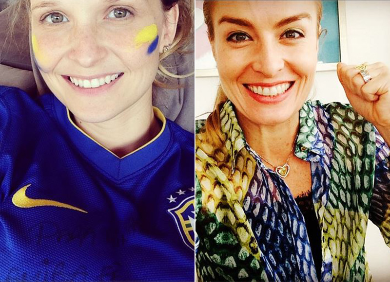 Fernanda Rodrigues pintou as bochechas na mesma cor da camisa, enquanto Angélica usou uma camisa estampada nas cores da bandeira