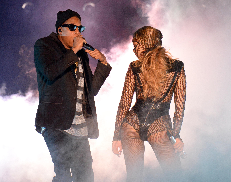 Jay-Z e Beyoncé em show em Miami, nos Estados Unidos