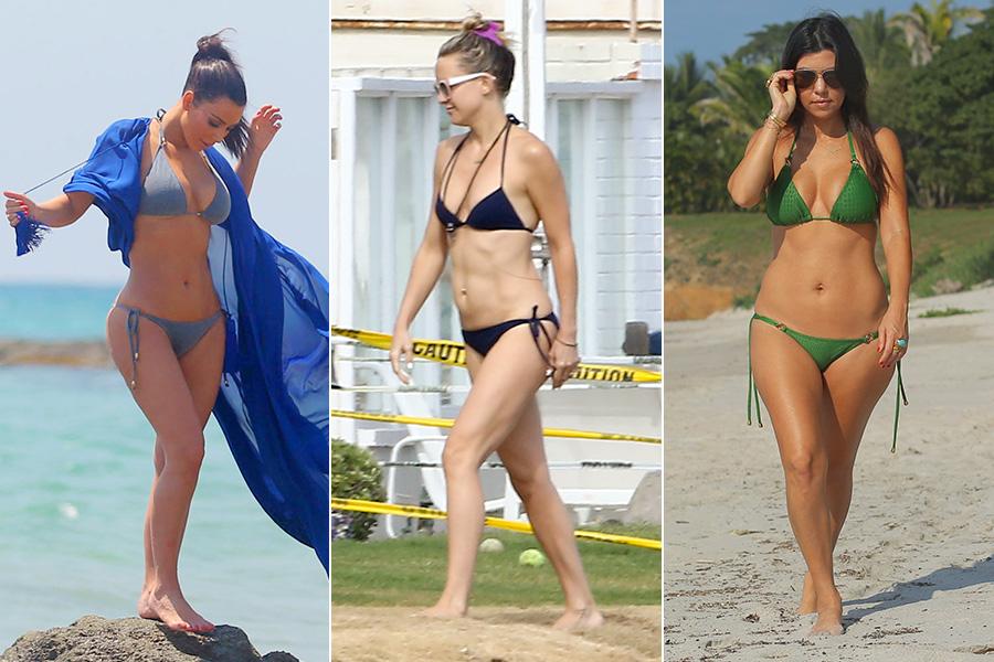 As irmãs Kim (à esquerda) e Kourtney Kardashian (à direita) têm a mesma preferência quanto a biquínis: sutiã cortininha e calcinha com lacinho. O conjunto também é o eleito de Kate Hudson