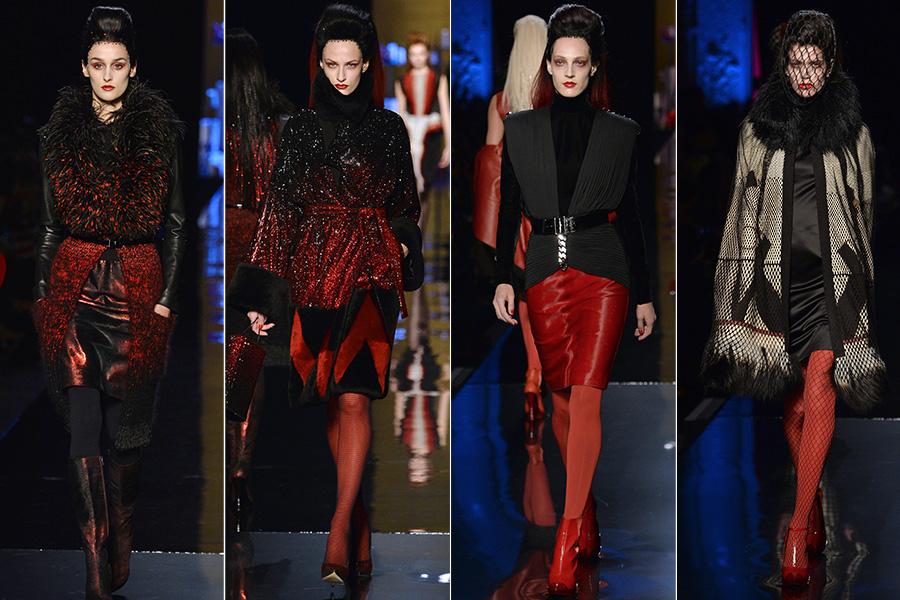 Jean Paul Gaultier apostou na combinação das cores preta e vermelha