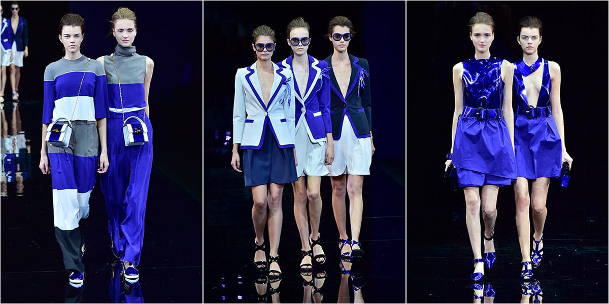 f360e548ddcc7 Foi tudo azul no desfile de primavera 2015 da Emporio Armani na semana de  moda de