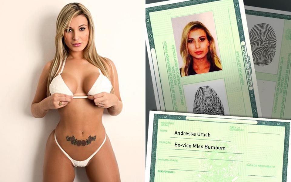 Andressa Urach nao conseguiu mostrar o decote, mas não deixou de ser sensual na foto do documento