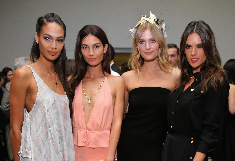 Joan Smalls, Lily Aldridgel, Constance Jablonski e Alessandra Ambrosio em evento de moda em Nova York, nos Estados Unidos