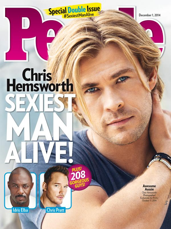 Chris Hemsworth na capa da revista People: o mais sexy do mundo