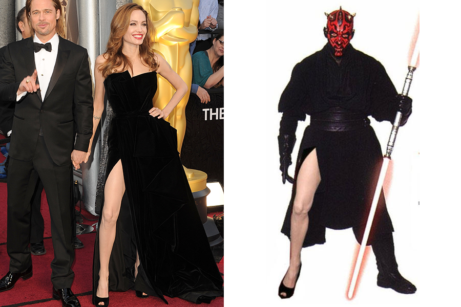 """Em 2012, Angelina Jolie (na foto com o marido, Brad Pitt) usou um tomara que caia Versace e caprichou na pose para mostrar a perna. Logo virou piada na web, como a comparação com o personagem Darth Maul, de """"Guerra nas estrelas"""""""