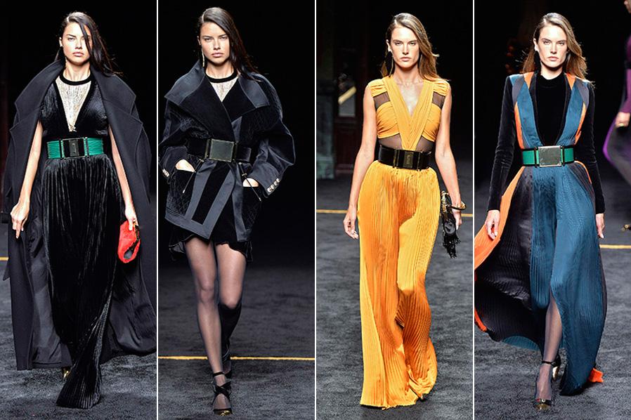 Adriana Lima e Alessandra Ambrósio usaram dois looks cada no desfile da Balmain em Paris