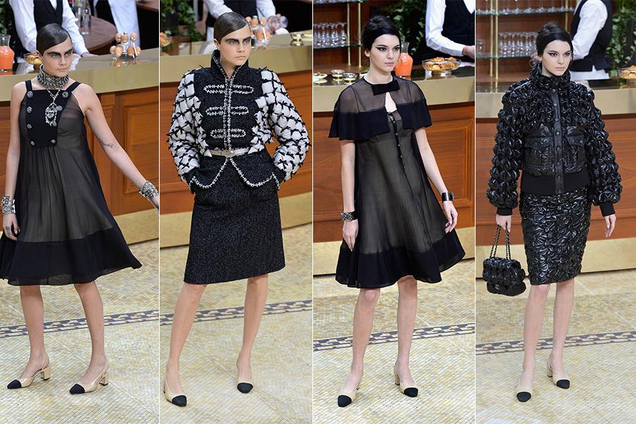 Cara Delevingne e Kendall Jenner foram as estrelas no desfile da Chanel: ambas usaram dois looks cada