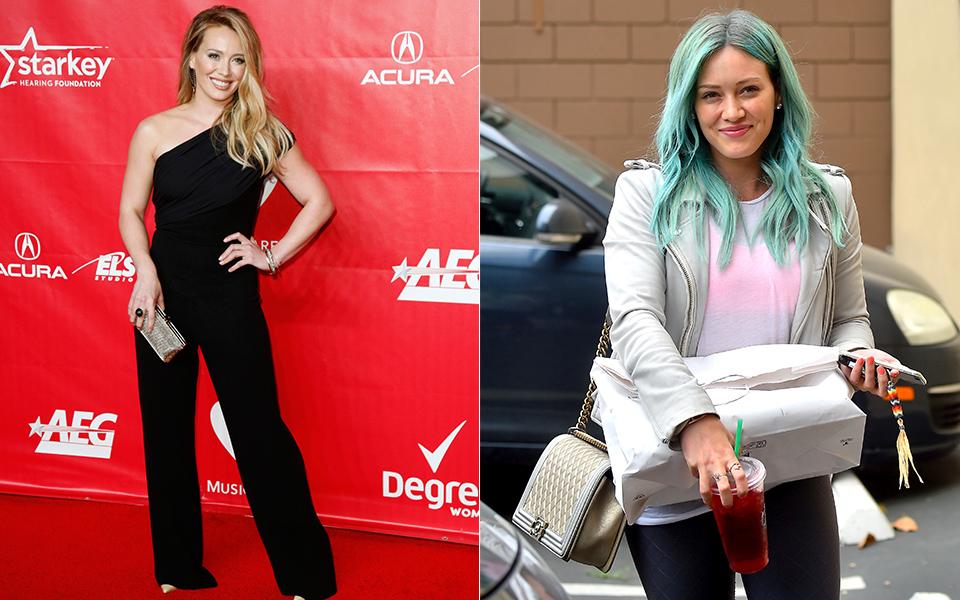 Hilary Duff radicalizou não no corte, mas na cor: a cantora apareceu com os cabelos azul esverdeados, mesma cor de Kylie Jenner