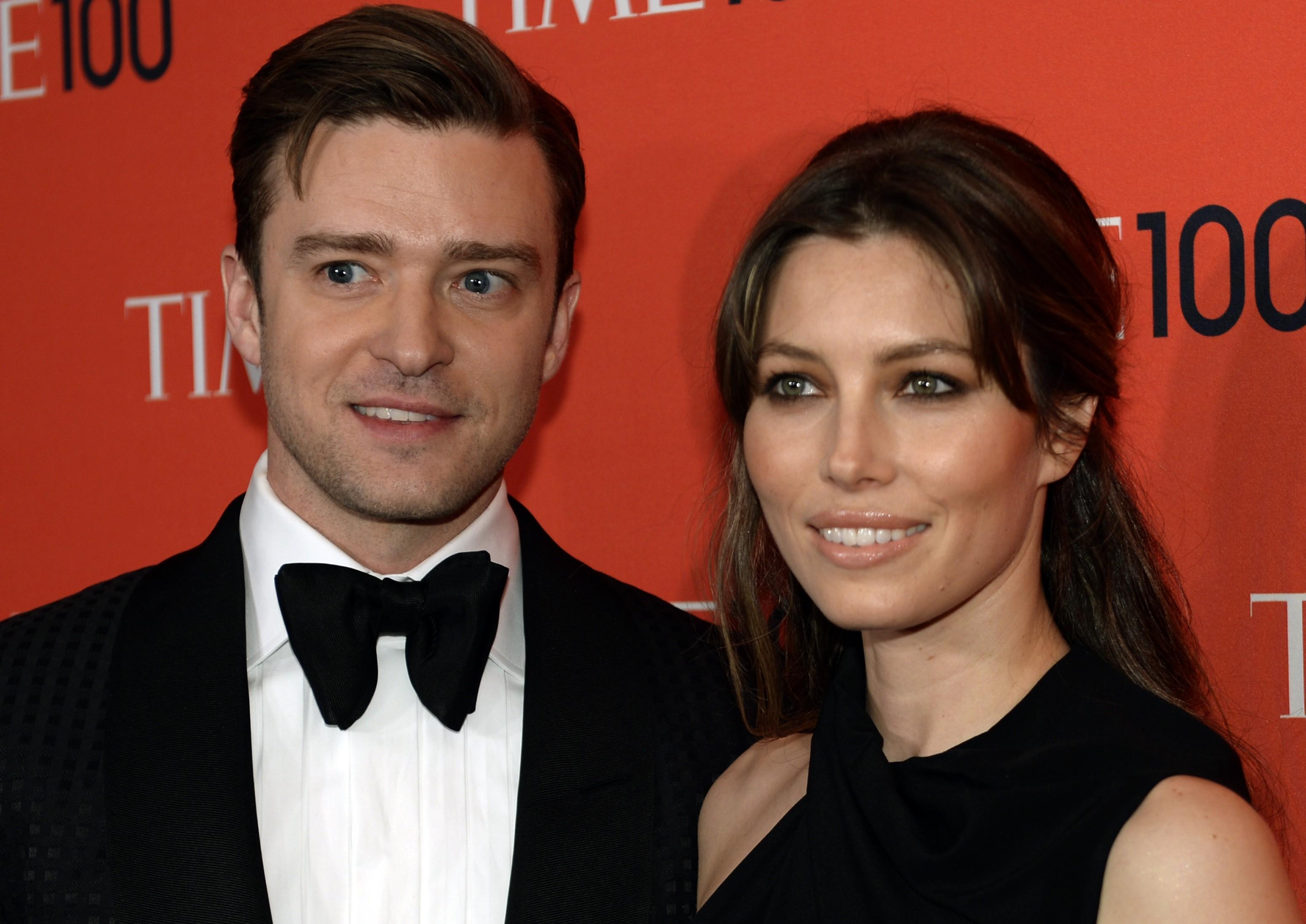 """Justin Timberlake e Jessica Biel em festa da revista """"TIME"""" em Nova York, nos Estados Unidos"""