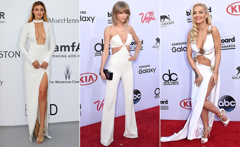 Na hora de escolher um look novo para arrasar, nada de preto! Fuja do obvio e aposte em um longo branco - é só se inspirar em famosas como Gigi Hadid, Taylor Swift e Rita Ora