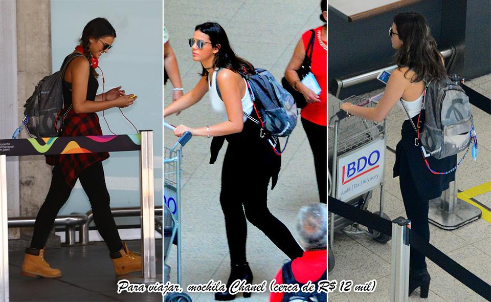 O look pode ser despojado na hora de pegar avião, mas os acessórios... Que tal esta mochila Chanel, que não sai por menos de R$ 12 mil?