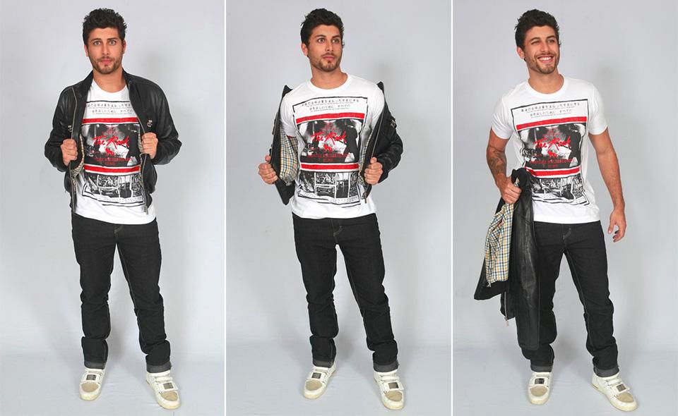 """Jesus Luz veste casaco preto e tênis Dolce & Gabbana, que foi usado no videoclipe """"Celebration"""", da ex-namorada Madonna"""