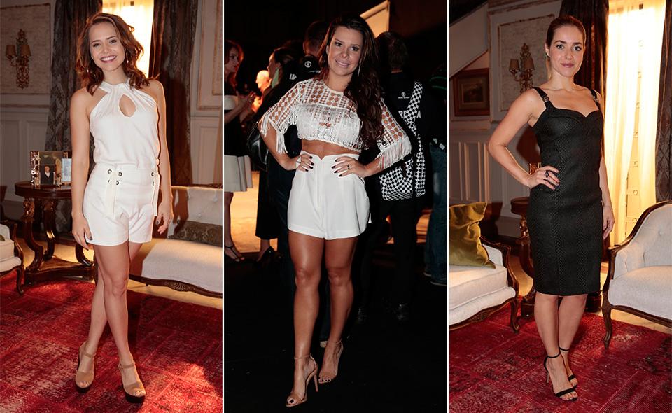 Letícia Colin e Fernanda Souza arrasaram com looks curtinhos e brancos. Já Monique Alfradique optou por um look mais clássico preto na altura dos joelhos