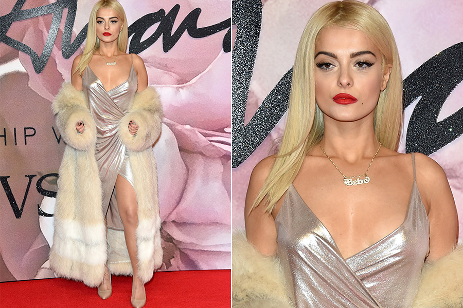 Bebe Rexha no tapete vermelho do British Fashion Awards 2016