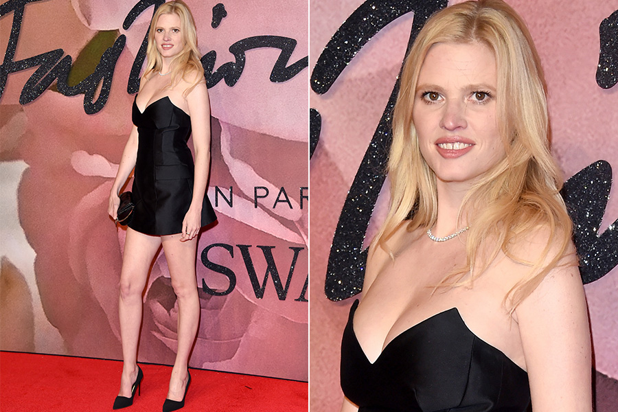 Lara Stone no tapete vermelho do British Fashion Awards 2016