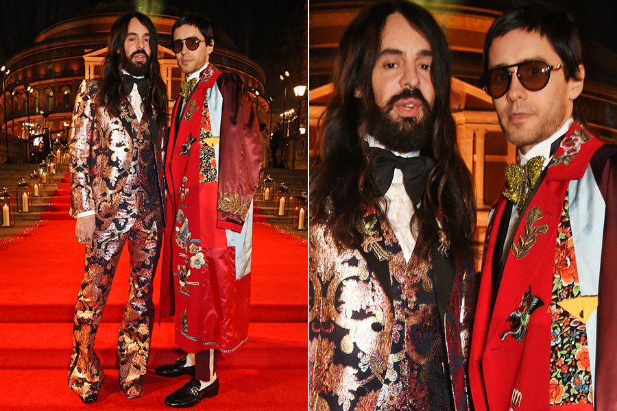 lessandro Michele e Jared Leto no tapete vermelho do British Fashion Awards 2016