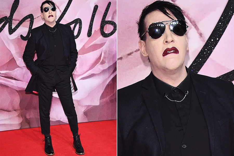 Marilyn Manson no tapete vermelho do British Fashion Awards 2016