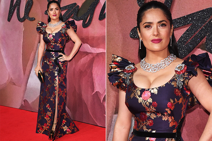 Salma Hayek no tapete vermelho do British Fashion Awards 2016