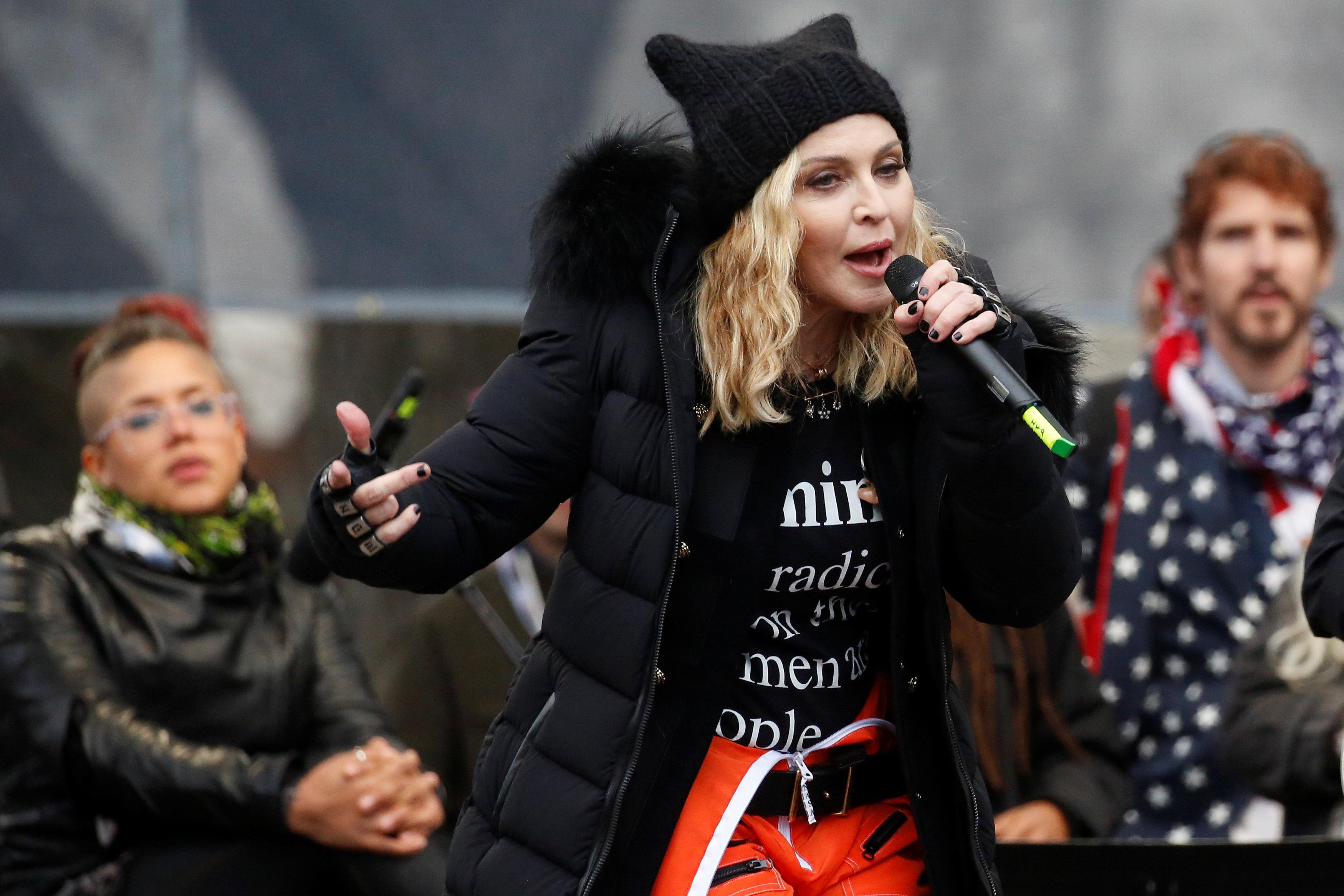 Madonna na marcha das mulheres em Washington, nos Estados Unidos