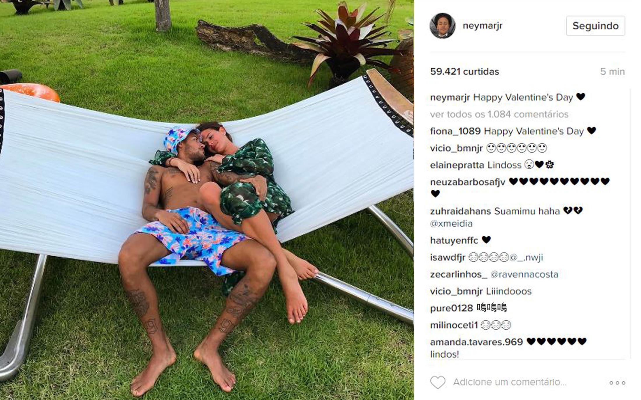 Neymar postou declaração para Bruna Marquezine nas redes sociais