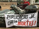 Moradores protestam por duplicao de rodovia em Barretos, SP