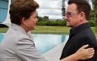 Bono e Dilma rezam pelas vítimas (Roberto Stuckert Filho/PR)