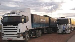 Caminhões são apreendidos transportando madeira irregular. (Foto: Divulgação/ Polícia Rodoviária Federal)