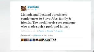 Bill Gates fala no Twitter sobre morte de Steve Jobs (Foto: Reprodução)