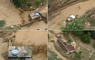 Estragos provocados pela chuva em Teresópolis.