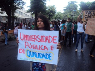 Estudantes da Escola de Veterinária da Ufba protestam (Foto:   Renata de Albuquerque/ Arquivo Pessoal)
